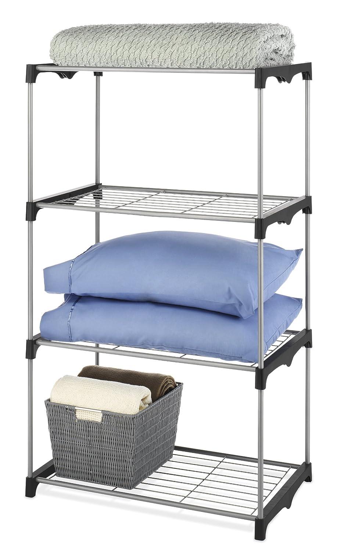 Amazon.com: Whitmor 5 Tier Shelf Tower Closet Organizer Silver ...