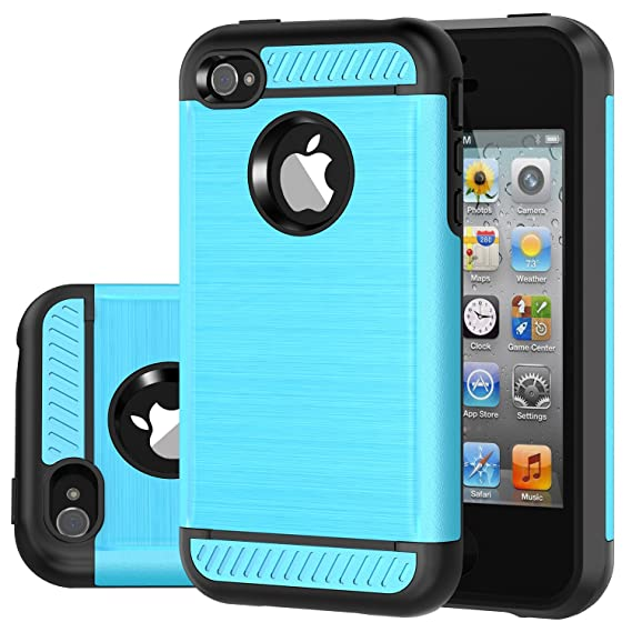 super popular 09e63 fd9a9 iPhone 4 Case, iPhone 4S Case, CHTech Brushed Metal Texture Series Hybrid  Shockproof Protection Scratch Proof Armor Case Cover for Apple iPhone 4/4S  - ...