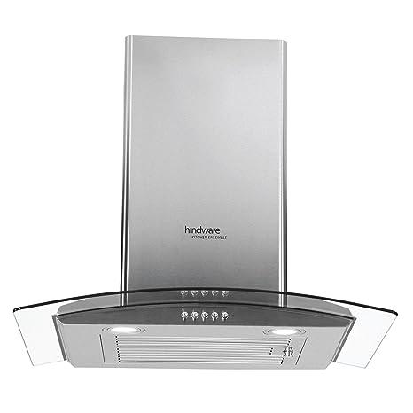 Hindware 60cm 1100 m3/hr Chimney (Sabina SS 60, 1 Baffle Filter, Steel/Grey)