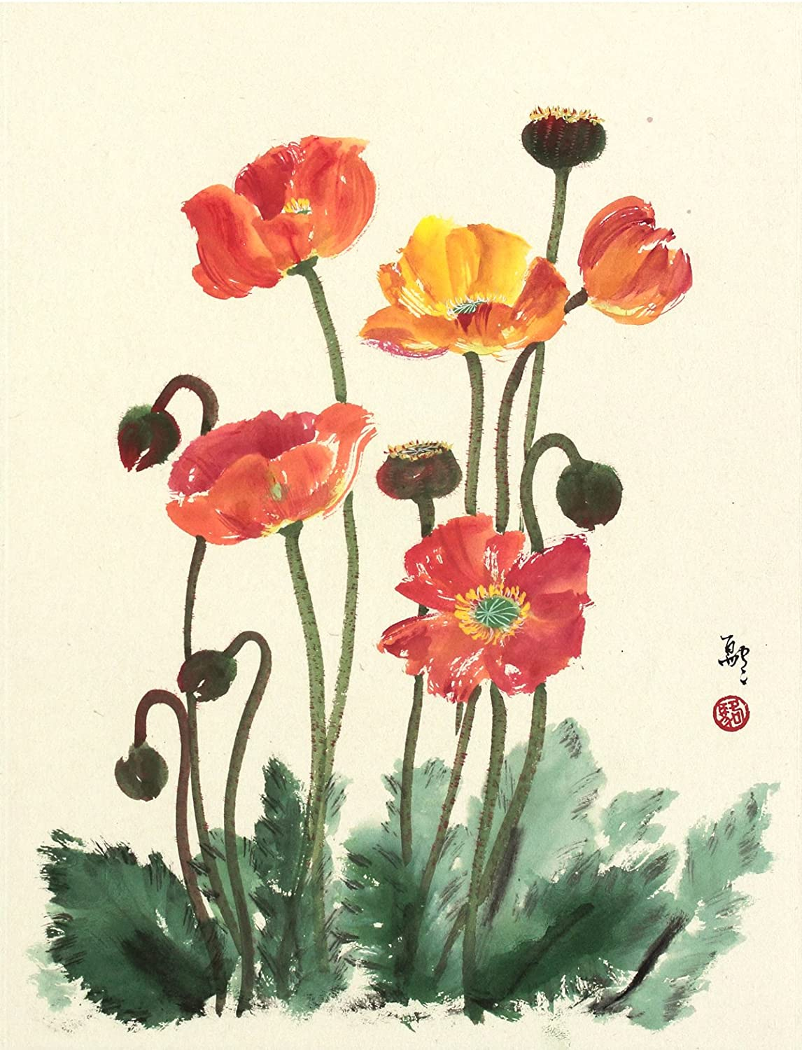"""""""Poppy Love"""" Bright Red Poppies Growing in the Ground, Giclee Print of Sumi-e Flower Painting, 10 X 13 Inches"""