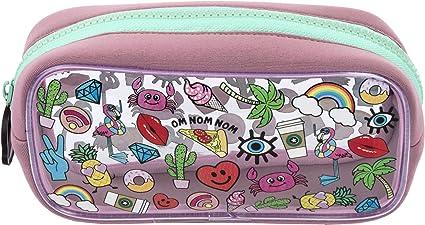 Estuche para lápices de FRINGOO, de PVC, infantil, transparente, grande, ideal para el colegio, para niños y niñas, color Girls Doodles Large: Amazon.es: Oficina y papelería
