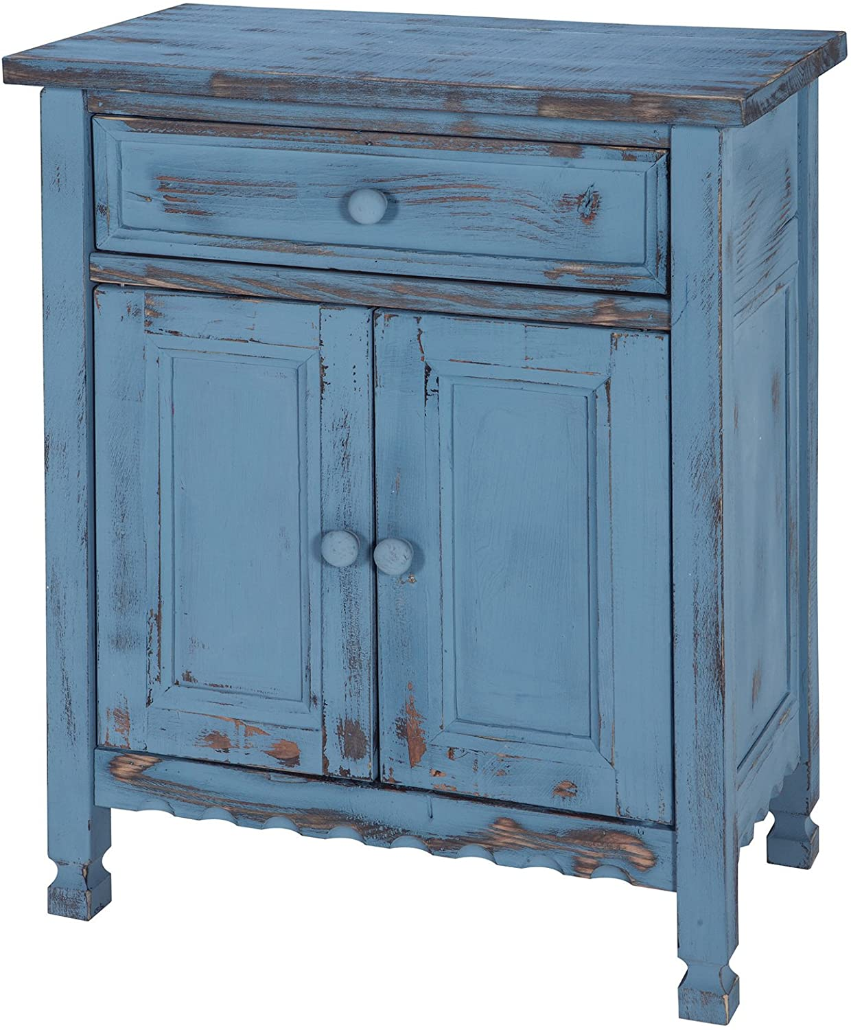 Rustic Cottage Accent Cabinet with 1 Drawer and 2 Doors, Blue Antique