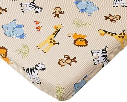 65487250907b Amazon.com  Bedtime Originals Jungle Buddies Beige Safari Animals Fitted Baby  Crib Sheet  Baby