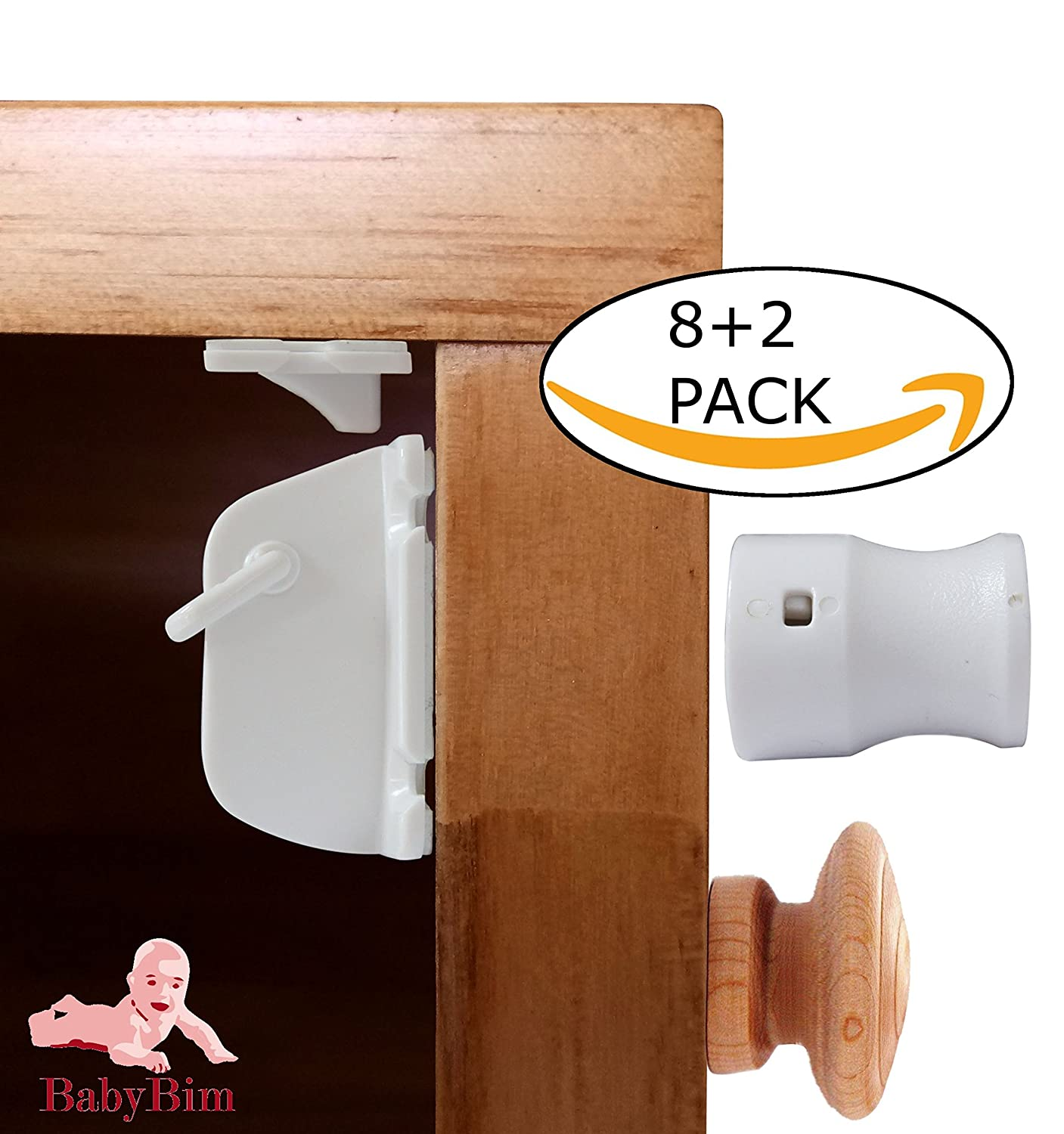 BabyBim Child Safety Strong Hidden Magnetic Lock for Kitchen & Livingroom  Cabinet Doors and...