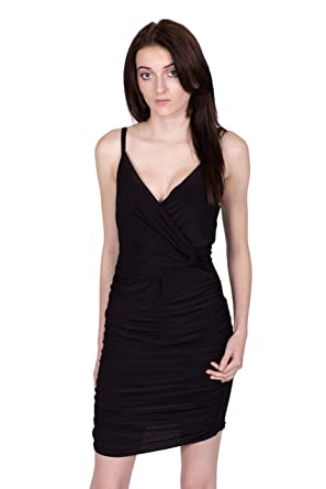 df8087dbe7 Womens Strappy Plunge Neck Wrap Over Tie Knot Ruched Bodycon Dress   Amazon.co.uk  Clothing