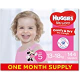 Huggies Ultra Dry Nappies, Girls, Size 5 Walker (13-18kg), 144 Count, One-Month Supply, (Packaging May Vary)
