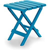 Camco 51680 Aqua Regular Adirondack Portable Outdoor Folding Side Table, Perfect for The Beach, Camping, Picnics, Cookouts and More, Weatherproof and Rust Resistant