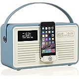 VQ Retro Mk II DAB & DAB+ Digital Radio with FM, Bluetooth, Apple Lightning Dock & Alarm Clock - Blue