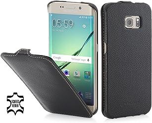 StilGut UltraSlim Case, Custodia in Pelle per Samsung Galaxy S6 Edge, Nero