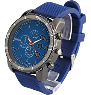 ShoppeWatch Mens Large Face Watch Faux Chronograph Dial Silicone Band Reloj Para Hombre Blue SW1091BL