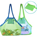 TopTops Mesh Beach Tote Bag, Kids Sea Shell Bags,2 Pack Large Beach Toy Bag Away from Sand,Bag Toys Organizer,Sand Toys Collector-Beach Pool Gear(Green+Blue)
