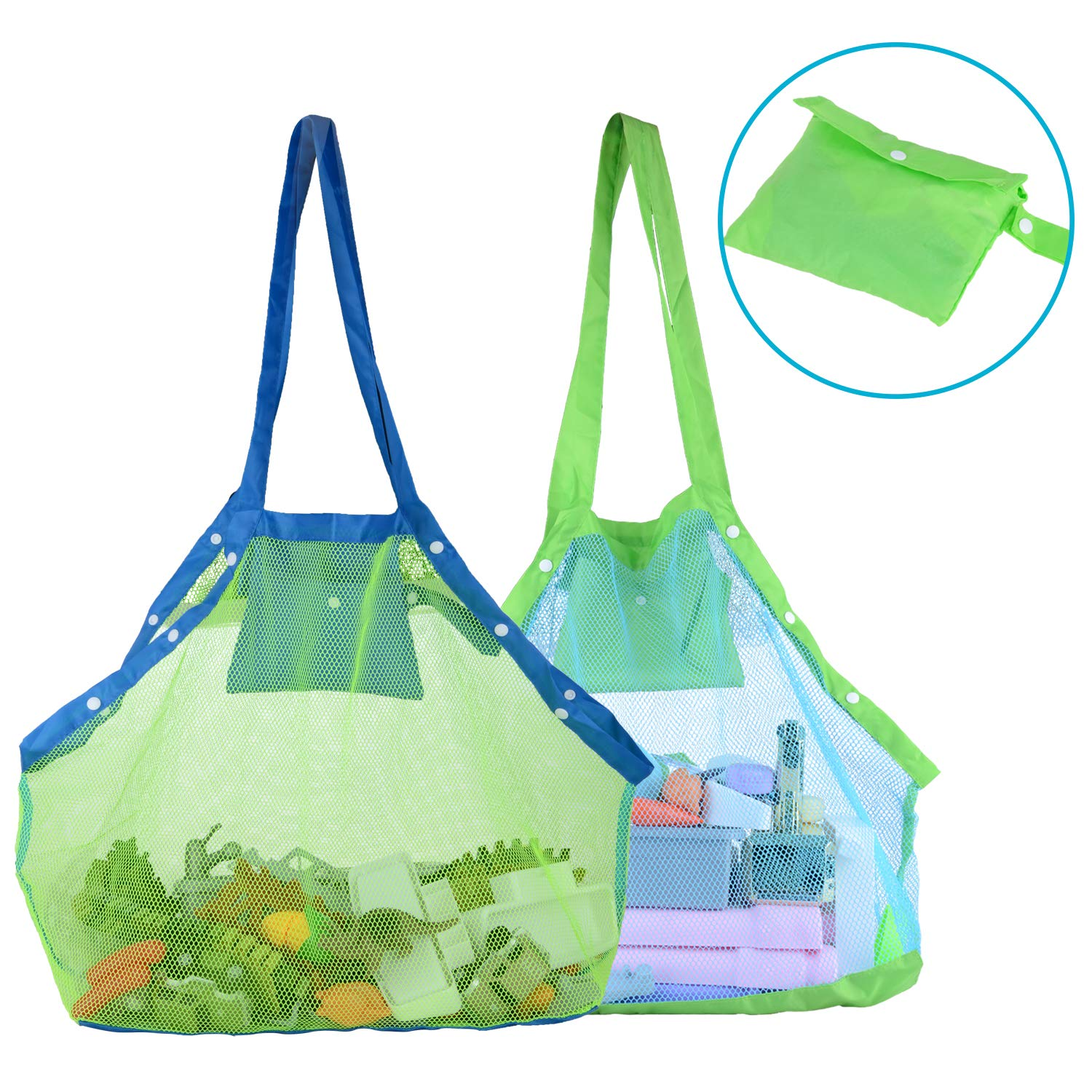 d6f85f3b1025 TopTops Mesh Beach Tote Bag, Kids Sea Shell Bags,2 Pack Large Beach Toy Bag  Away from Sand,Bag Toys Organizer,Sand Toys Collector-Beach Pool ...