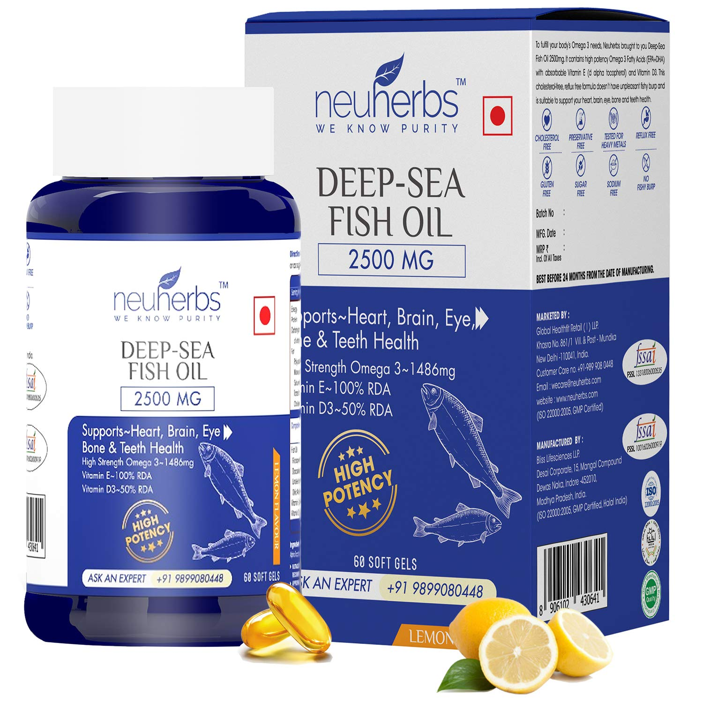 Neuherbs Deep Sea Omega 3 Fish Oil 2500 Mg (Omega 3 1486 mg; 892 mg EPA; and 594 mg DHA per serving) : 60 Soft gel capsules