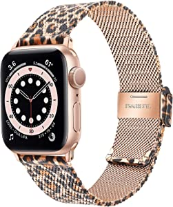 TRUMiRR Band for Apple Watch Series 6 / SE 40mm 38mm Women, Mesh Woven Stainless Steel Watchband Rose Gold Leopard Strap for iWatch Apple Watch SE Series 6 5 4 3 2 1 40mm 38mm