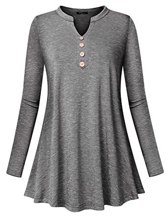 dd1fd8cad1e Ckuvysq Women`s Long Sleeve V Neck Button Up Lightweight Summer and Fall Tunic  Tops at Amazon Women's Clothing store: