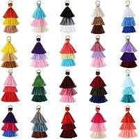 80 Pieces Tiny Tri-Layered Tassels Colorful Keychain Tassel Multi-Color Handmade DIY Silky Tassels Soft Cotton Mini…