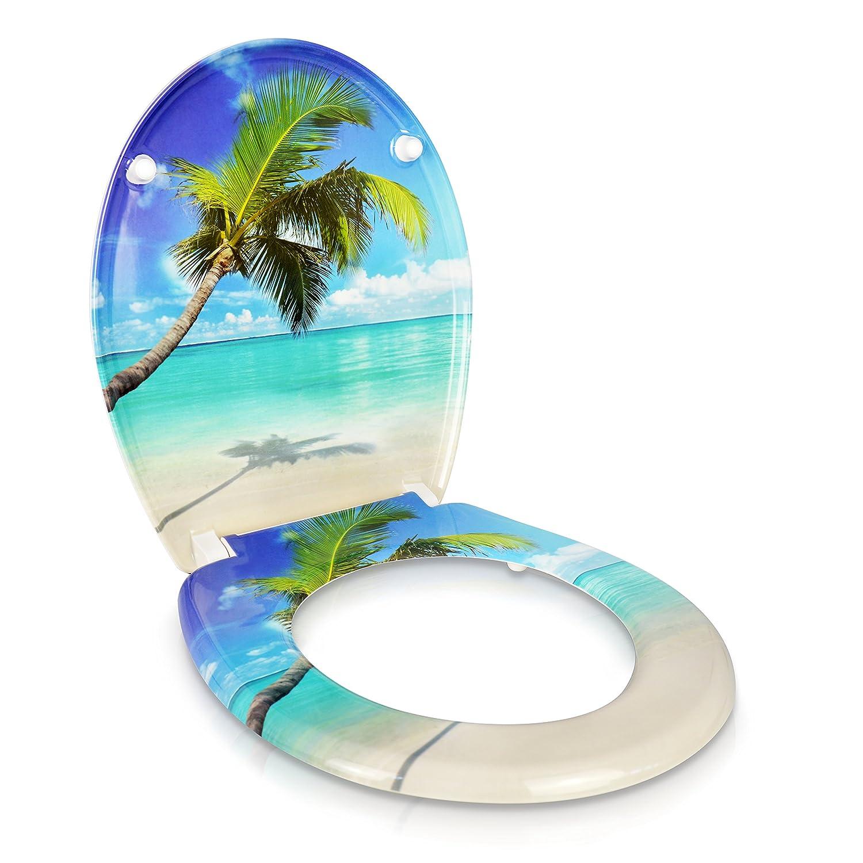 Montagesatz Grinscard WC Sitz mit Absenkautomatik -Caribbean Dream Design Duroplast Toilettendeckel mit Motiv inkl