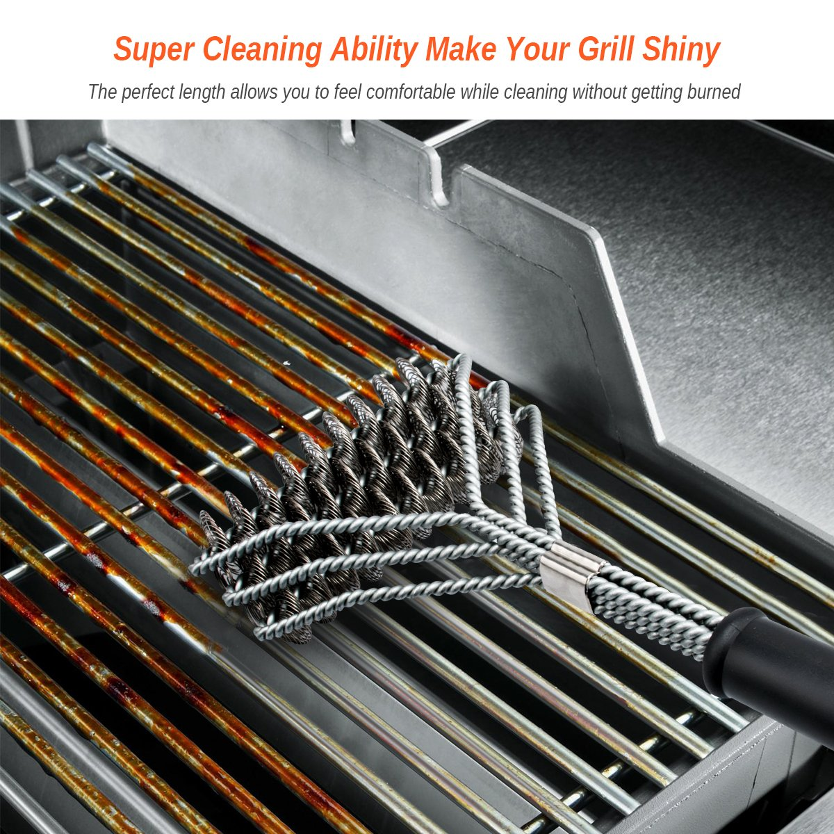 Grill Brush and Scraper Grill Brush Bristle Free - Grill Brsh 18'' for Porcelain Grates Outdoor Stainless Steel Grill Cleaner Tool - BBQ Safe Scraper Barbeque Cleaning Accessories Stainl … by RuxBrush (Image #2)