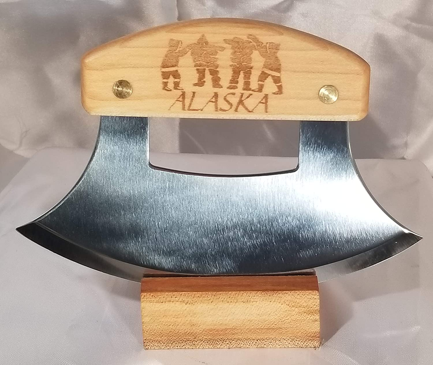 Alaskan Heritage Series Inupiat Style Ulu with Stone Images Etched Birchwood Handle and 6.25 Inch Blade The Ulu Factory