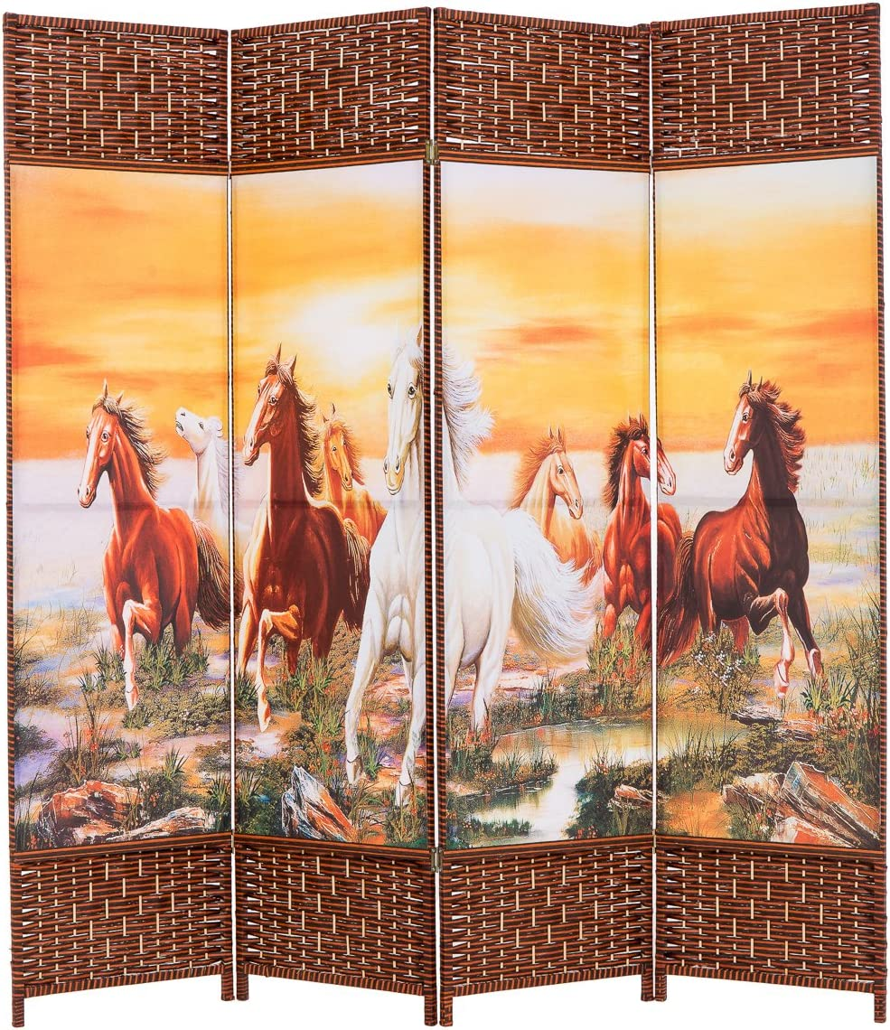 THY COLLECTIBLES Decorative Freestanding Woven Bamboo Canvas Print 4 Panels Hinged Panel Screen Portable Folding Room Divider Eight Horses