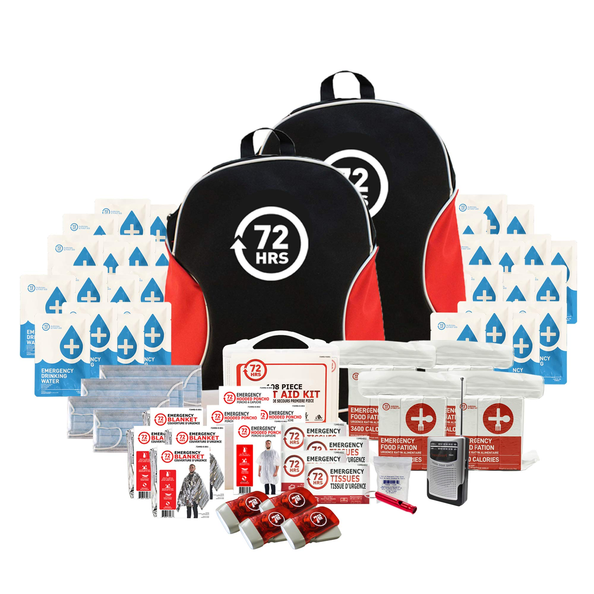 72HRS Earthquake Preparedness Kit, Basic Emergency Kit, Survival Kit for 4 Person Backpack Basic Emergency Kit by 72HRS