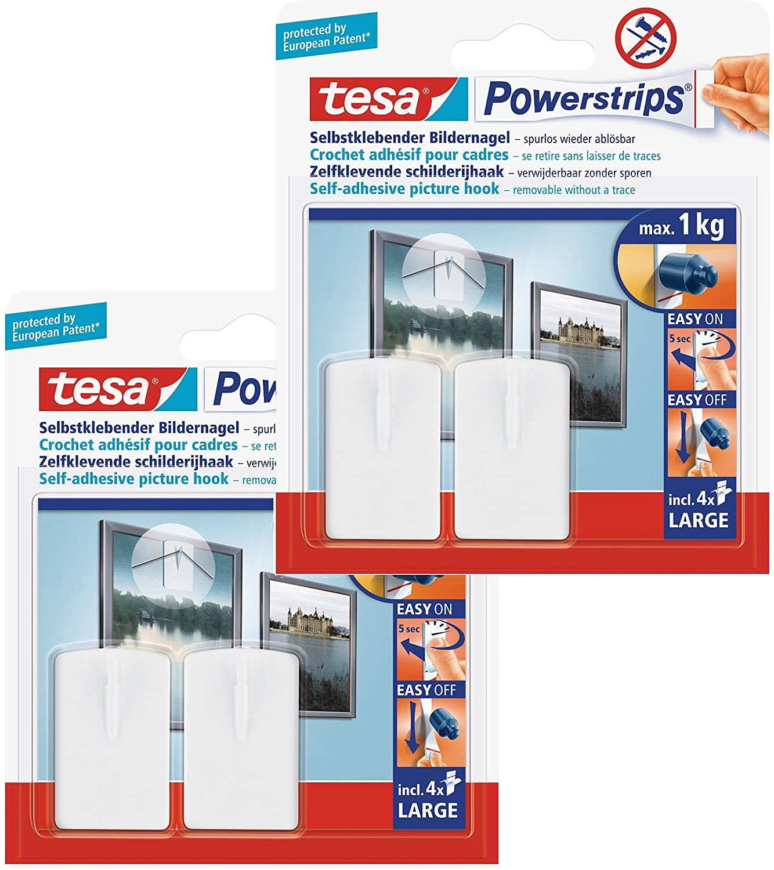 Tesa Powerstrips, Ganci autoadesivi per quadri, 2 pz., Bianco 58031-00020-01