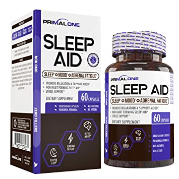 PRIMAL ONE Sleep AID - Non Habit Forming Sleep Support & Adrenal Fatigue Supplement - Stress