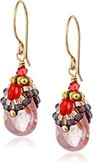 product image for Miguel Ases Raspberry Quartz Mini Drop Earrings