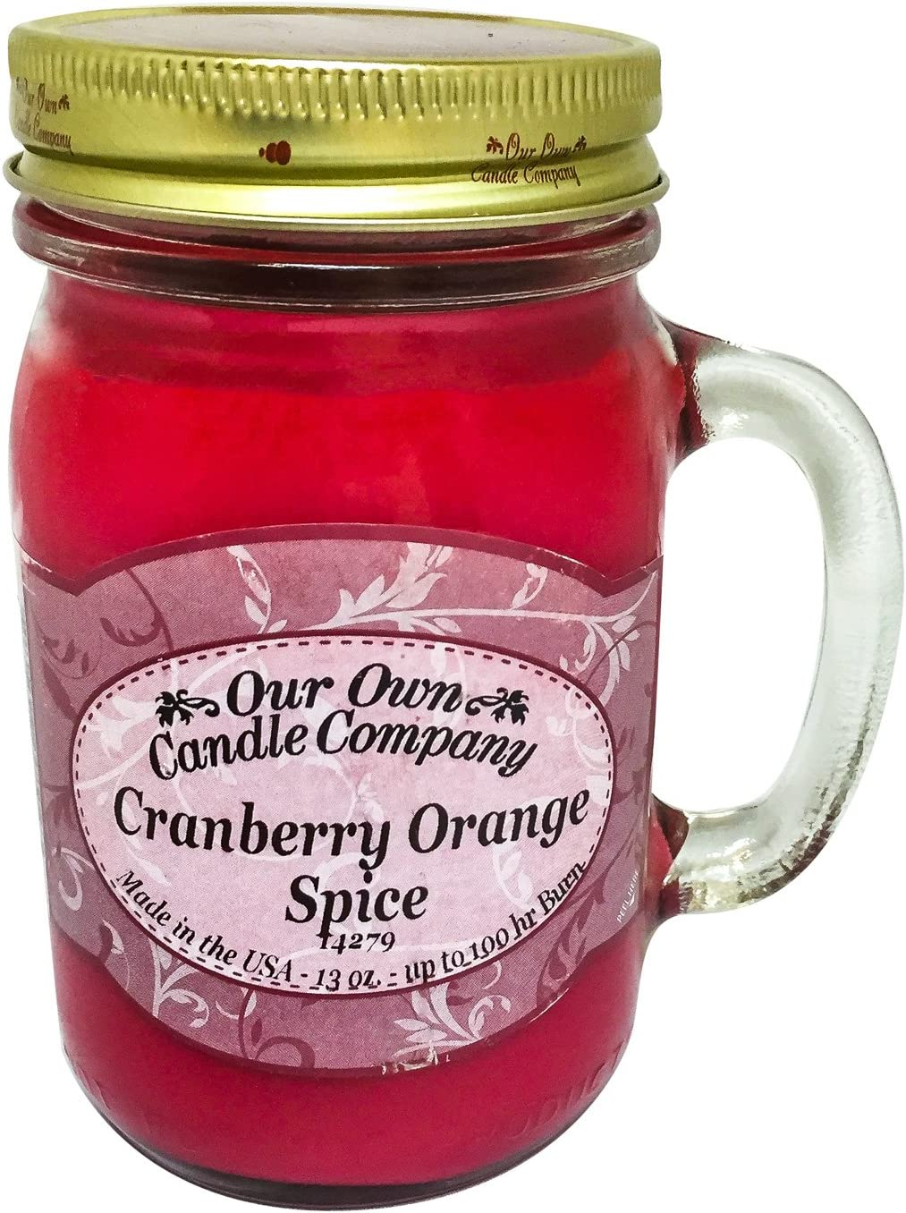 Our Own Candle Company Cranberry Orange Spice Scented 13 Ounce Mason Jar Candle