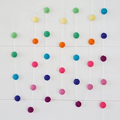 100% Wool Felt Ball Garlands 9FT Long 35 Balls - Rainbow Brights Colorful