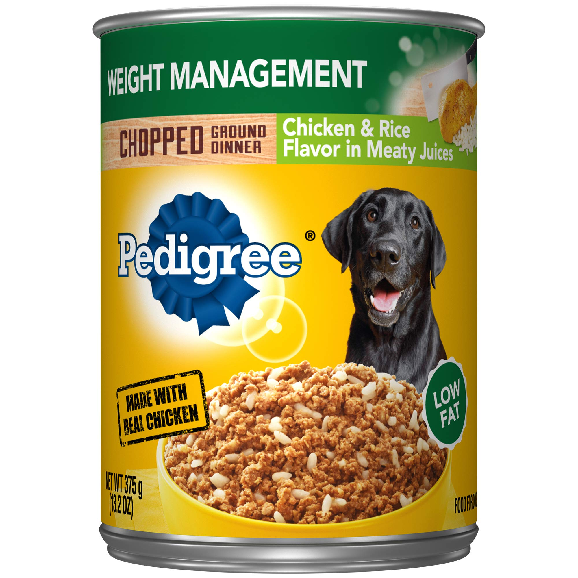 Pedigree Chopped Ground Dinner Weight Management Chicken & Rice Flavor Adult Canned Wet Dog Food, (12) 13.2 Oz. Cans by Pedigree