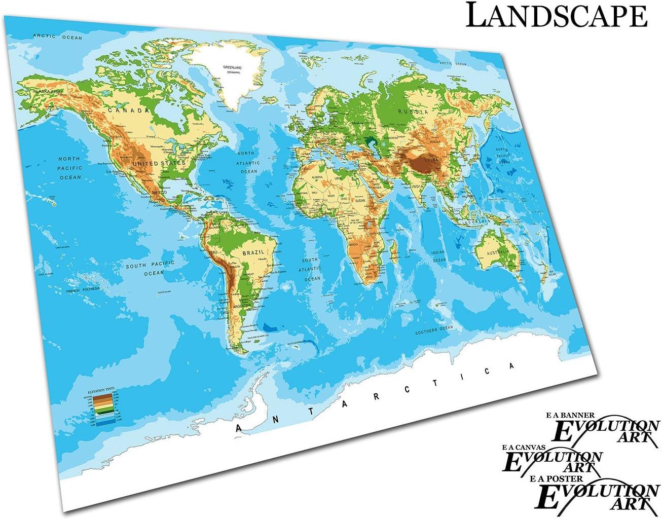 A0 Poster d/étaill/ée carte du monde Villes Pays Vector