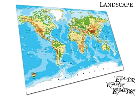EAPoster Poster Print detailed World map cities countries Vector Size=A2