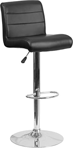 Flash Furniture Contemporary Black Vinyl Adjustable Height Barstool