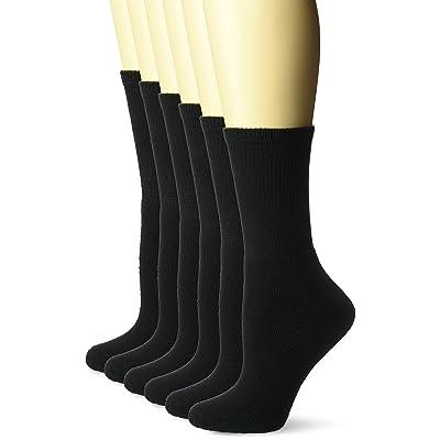 Fruit of the Loom Women's 6pk Cushioned Black Crew Socks, New Black, Shoe Size: 4-10