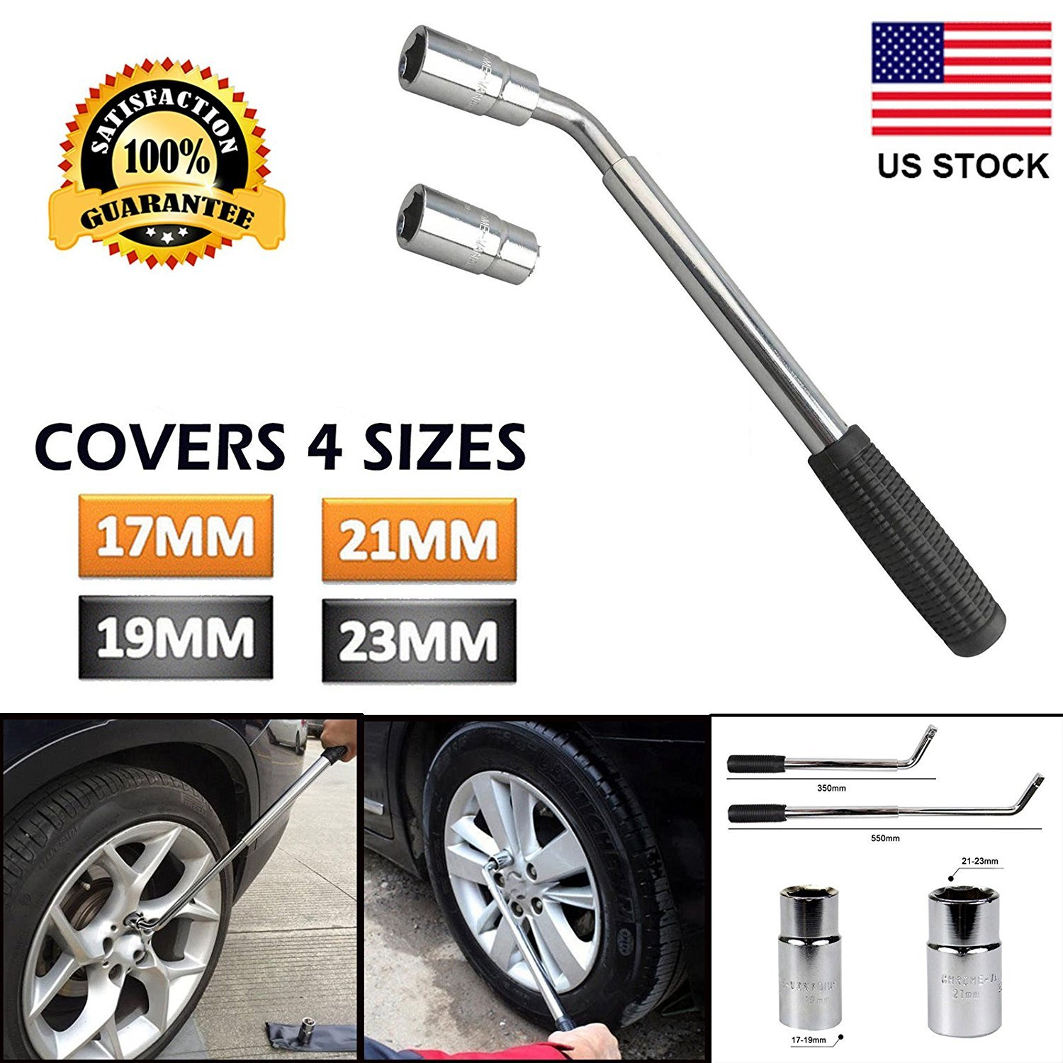 Extendable Wheel Brace Lug Nut Wrench with 17/19/21/23mm Standard Sockets for Car Van Truck Spare Tire Breakdown Emergency Tools US Ship