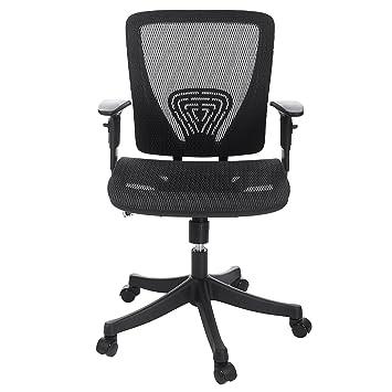 homdox ergonomic office chair with adjustable armrest mid back black mesh padded seat black fabric plastic mesh ergonomic office