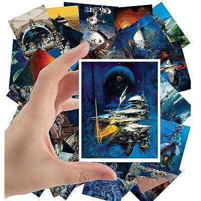 "Large Stickers (24 pcs 2.5""x3.5"") Vintage SciFi Space Battles Aliens Comic Art John Conrad Berkey: Toys & Games"