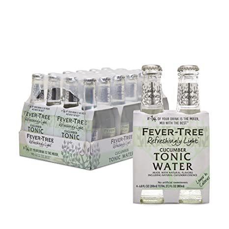 Fever-Tree Light Cucumber Tonic Water Glass Bottles, No Artificial Sweeteners, Flavorings & Preservatives, 6.8 Fl Oz (Pack of 24)