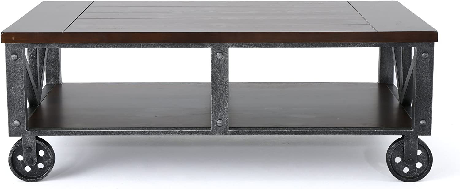- Dresden Industrial Faux Wood Coffee Table With Antique Black Iron