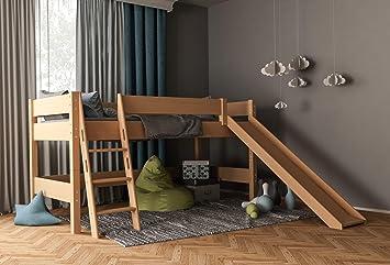 Furnneo Lit Mezzanine Pour Enfant Avec Toboggan Securite