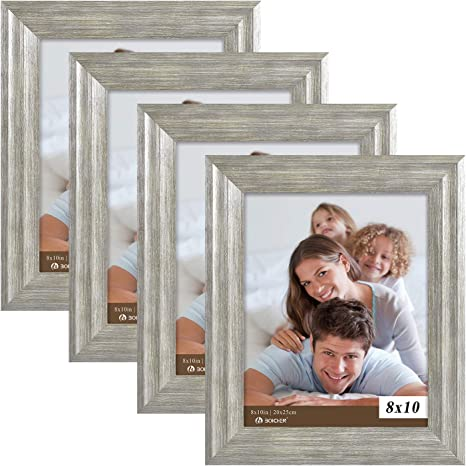 Tabletop or Wall Hanging Picture Photo Rustic Wood Gray Finish Stand Frame 8x10
