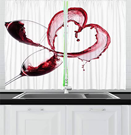 Ambesonne Wine Kitchen Curtains, Heart with Spilling Red Wine in Glasses  Romantic Love Valentines Day Concept, Window Drapes 2 Panel Set for Kitchen  ...