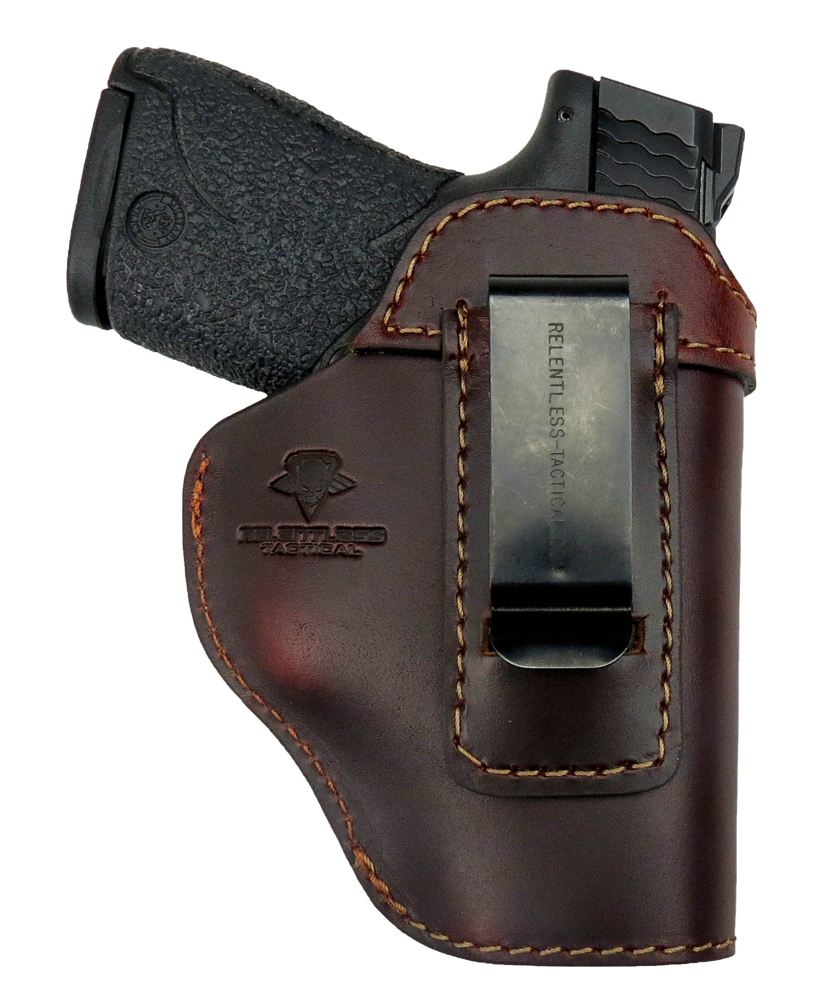 Relentless Tactical The Defender Leather IWB Holster - Made in USA - For S&W M&P Shield - GLOCK 17 19 22 23 32 33/Springfield XD & XDS/Plus All Similar Sized Handguns – Brown – Right Handed by Relentless Tactical (Image #3)