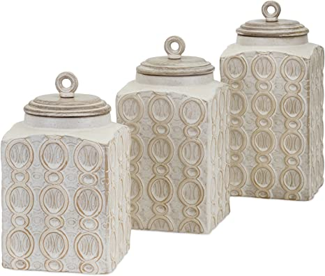 Amazon Com Imax 95792 3 Dreanna Canisters Set Of 3 Food Safe Handcrafted Container With Mango Wood Lid Kitchen Storage Accessories