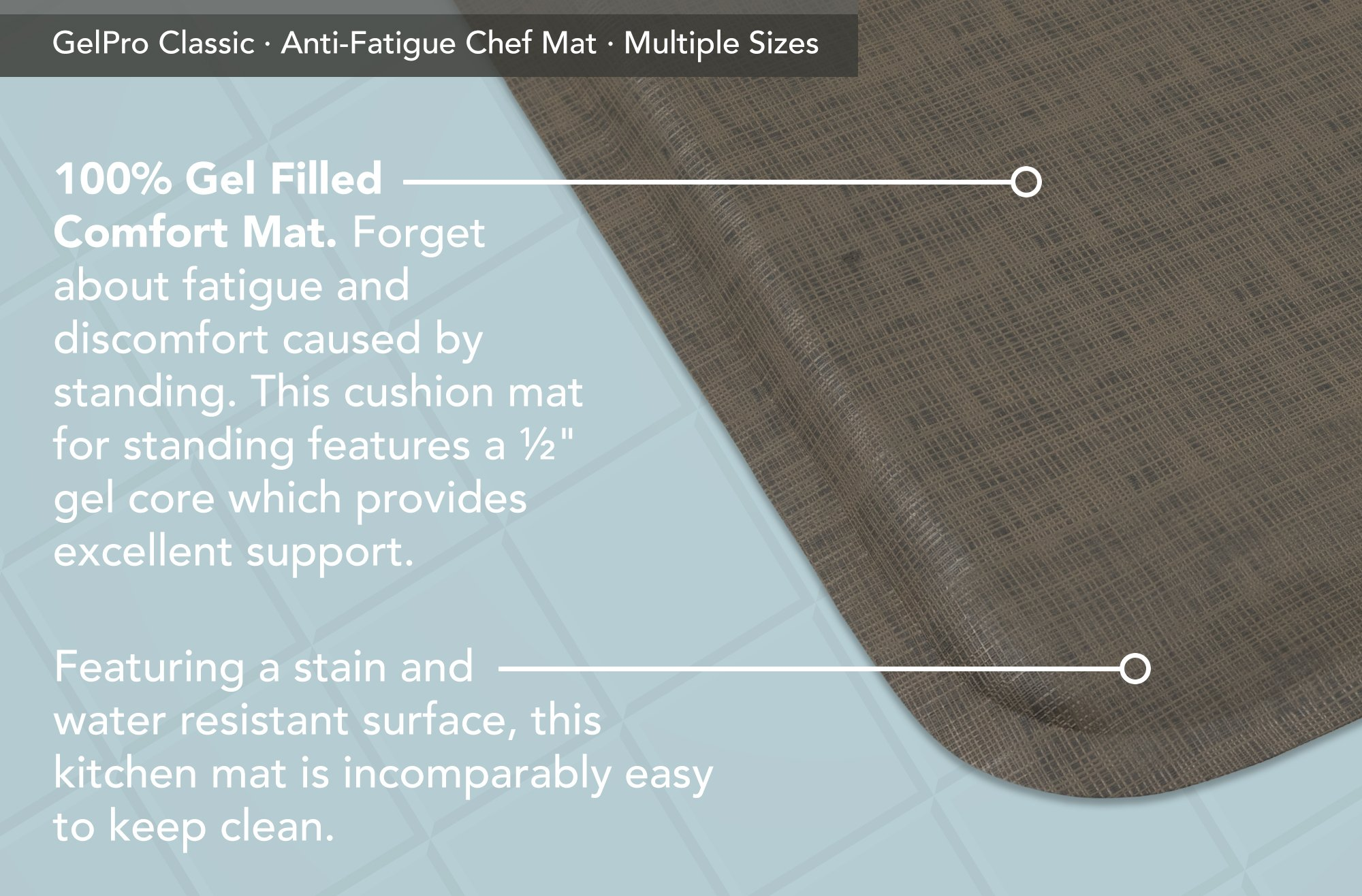 "GelPro Classic Anti-Fatigue Kitchen Comfort Chef Floor Mat, 20x48"", Linen Granite Gray Stain Resistant Surface with 1/2"" Gel Core for Health and Wellness by GelPro (Image #4)"
