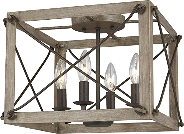 Sea Gull Lighting Ceiling Fan with Frosted Glass Shades Weathered Iron Finish