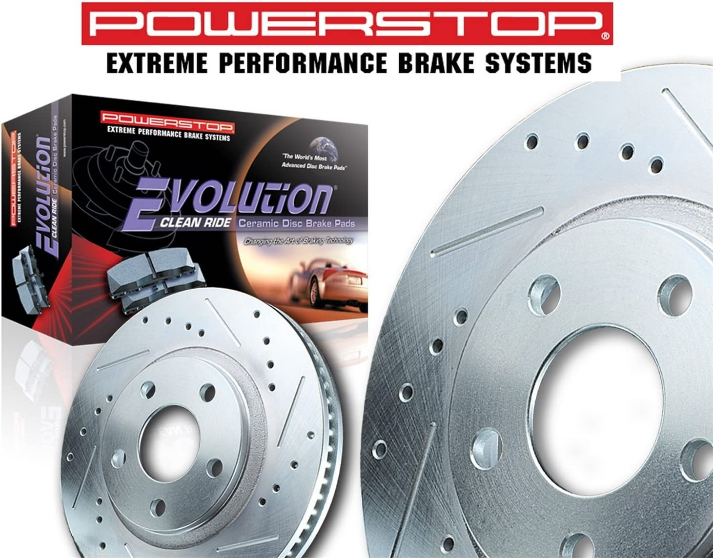 Power Stop K1072 Rear Z23 Evolution Brake Kit with Drilled//Slotted Rotors and Ceramic Brake Pads