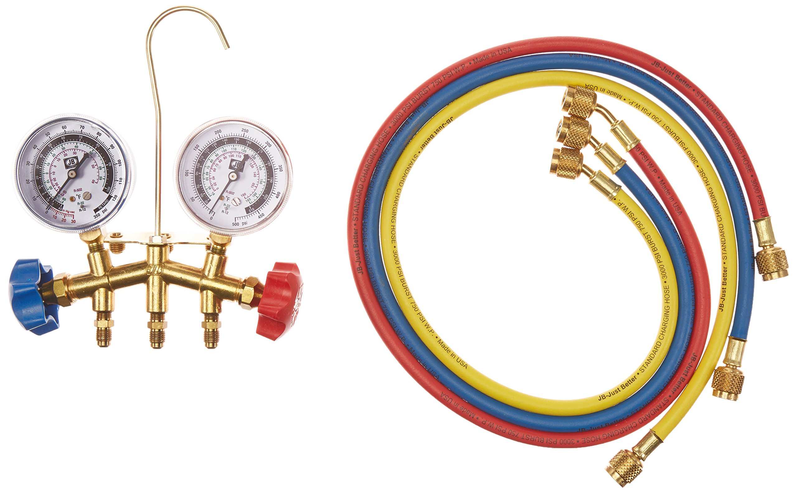 Jb Industries GIDDS-131243 Jb Industries Brass 2-Valve Charging Manifold Assembly with 36'' Standard Hoses