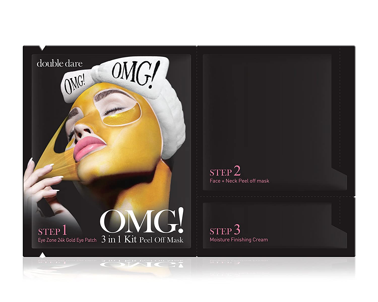 double dare OMG 3in1 Kit Peel off Mask – Anti-aging and Deep Cleansing with 24k Gold 5 Sheets